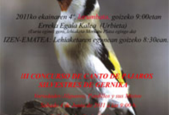 Gernika acogerá este sábado el tercer concurso de canto de pájaros silvestres