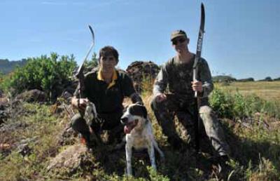 Codornices con arco y perro