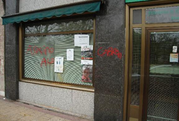 Agresión animalista contra la sede de la Federación de Caza de Castilla y León