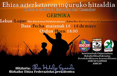 Charla sobre el examen del cazador en Gernika el 15 de mayo