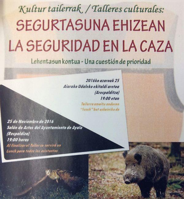 Formación sobre la adopción de medidas de seguridad en una jornada de caza en Ayala (Araba)