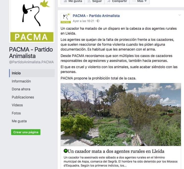 La onc denunciará a pacma por utilizar el asesinato de dos agentes rurales para criminalizar al sector de la caza