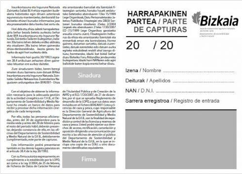 La federacion Bizkaina de Caza informa sobre la importancia de la entrega de los partes de capturas