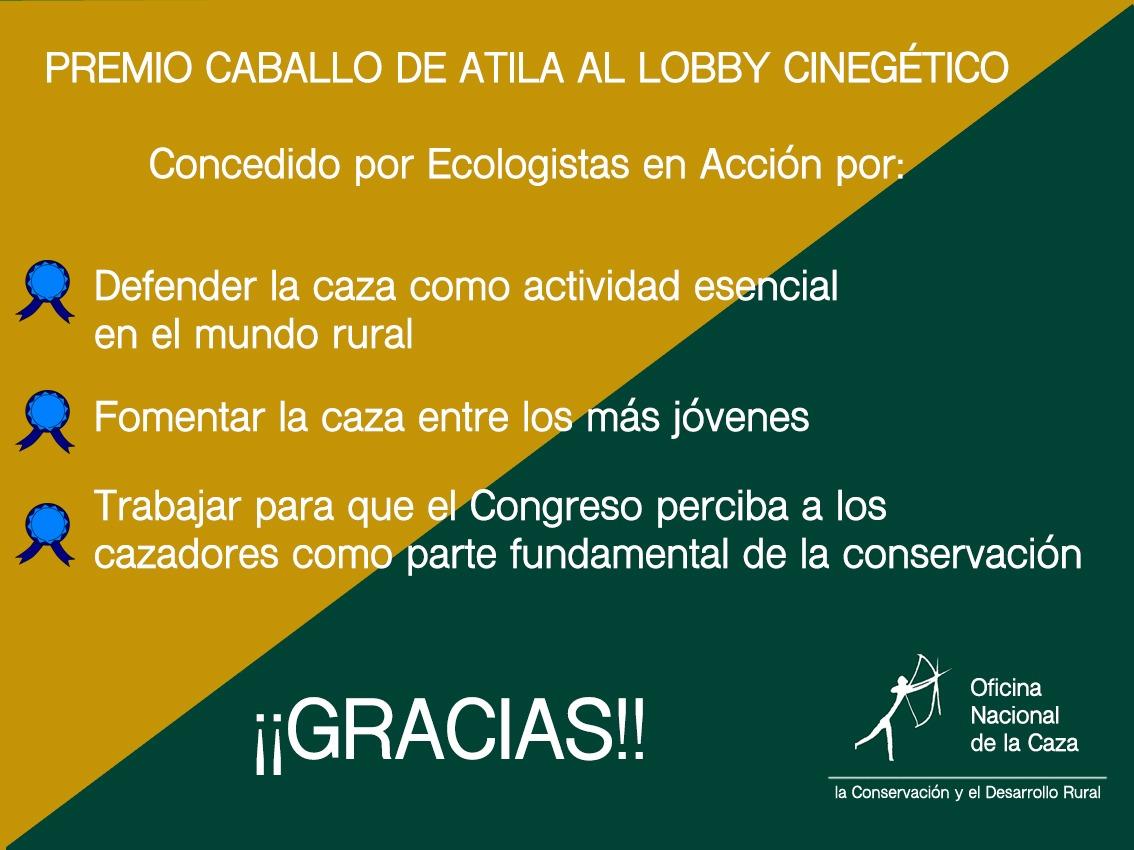 Ecologistas en Acción arremete contra la ONC concediendole el premio ATILA