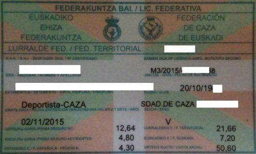 La tarjeta federativa es documento válido para la expedición o renovación de la licencia de armas para cazar