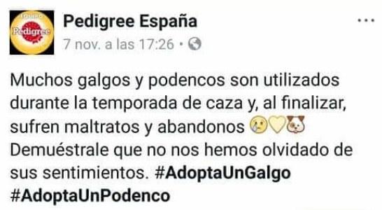 La RFEC y la FEG instan a Pedigree España a retirar el post que acusa a los cazadores de maltratar y abandonar galgos y podencos