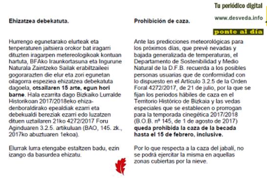 ¡Última hora! Cerrada la caza de Becada en Bizkaia