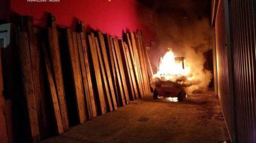Incendio provocado en el recorrido del encierro de los Sanfermines de este año