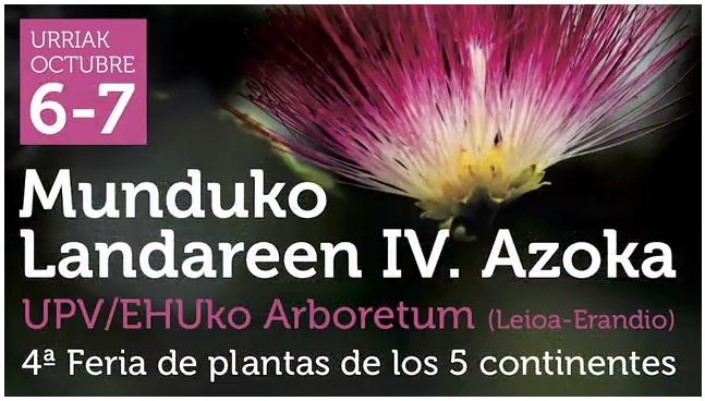 6 y 7 de Octubre en Leioa: IV Feria de plantas de los cinco continentes