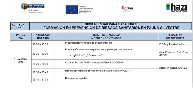 Mañana importante curso sobre la Peste Porcina Africana – PPA, en Bilbao