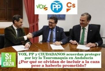 VOX y el PP no protegerán la caza por ley en Andalucía pese a haberlo prometido en su programa electoral