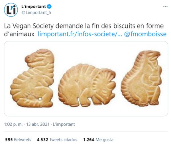 Organización vegana en Francia exige que se retiren del mercado las galletas de animalitos