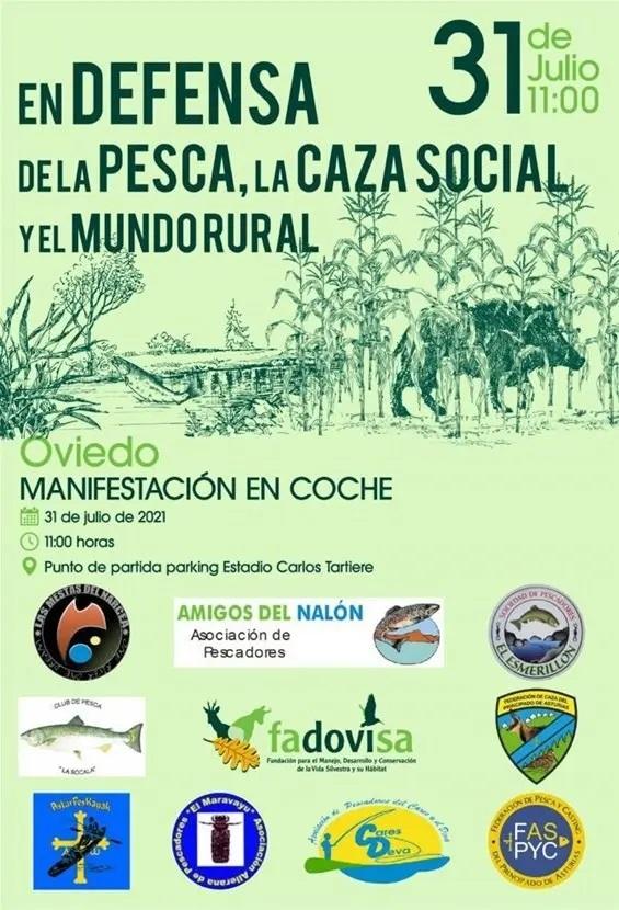 Manifestación en Oviedo en Defensa de la Pesca, La Caza Social y el Mundo Rural